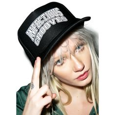 Suicidal Tendencies Infectious Grooves Flip Snapback ($22) ❤ liked on Polyvore featuring accessories, hats, flip up hats, flippies hats, snapback hats, flip up brim hats and brimmed hat