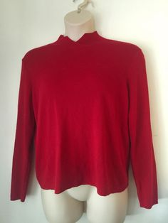 Plus Size Woman's Bright Red Ribbed Silk Turtleneck Sweater COLDWATER CREEK XL #ColdwaterCreek #TurtleneckMock