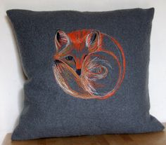 Free hand machine embroidered Fox on felted and by SpeculatingRook, $48.24