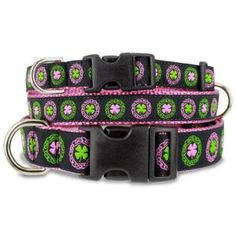 Irish Celtic Dog Collar with Clover on Pink - For your Irish Furry Girl! Dramatic and unique, this pink and green Irish dog collar with get a lot of attention!