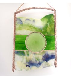 Abstract Stained Glass Modern Art Green and by Nostalgianmore, $350.00 Modern Stained Glass Panels, Stained Glass Art, Fused Glass, Mosaic Projects, Stained Glass Projects, Contemporary Wall Art, Modern Art, Copper Art, Window Hanging