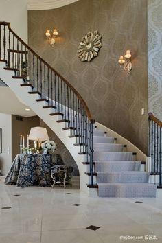 2013 European style luxury villa decorative wrought iron staircase