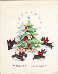 RARE Art Deco Xmas Greeting Card Ornaments Scotty Dogs Playing Around Tree | eBay: