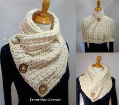 3 Button Crochet Scarf, 3 Button scarf, Wrap cowl, Dallas Dreams Scarf, Cream 3 Buttons Scarf, Mother's Gift #chunkyscarf #scarf