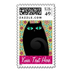 Pretty Black Kitty on a pretty flower pattern - customize these cute stamps with any name or message for perfectly personalized postage - great for personal or business uses including grooming, pet sitting service, boarding kennel, veterinarian office, cat rescue shelter, pet supplies boutique and other cat related industries! #cute #cat #kitty #pink #stamps #flowers #customize #cat #lover #black #cat #green #eyes #cats #pets #pattern #fun #colorful #vector #illustration #postage #custom ...