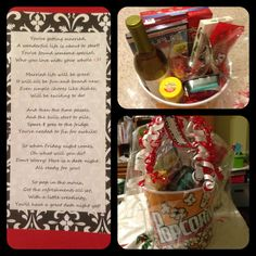 "I put this ""Date Night...wrapped up in a basket"" gift together for a friend that is getting married & brought it to her bridal shower! She loved it! It included a funny movie, popcorn, popcorn seasoning, candies, wine, wine glasses, wine bottle stoppers, a wine bottle opener and a nice poem all in a popcorn bucket! @Lauren Davison Kornya"