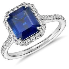 Blue Nile Emerald Cut Sapphire and Diamond Halo Ring in 18k White Gold... ($17,000) ❤ liked on Polyvore featuring jewelry, rings, accessories, anel, blue nile rings, sapphire engagement rings, round halo diamond ring, engagement rings and white gold sapphire ring