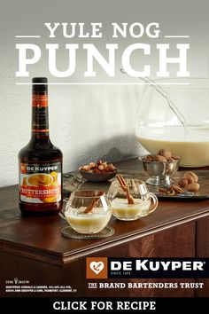 DeKuyper Yule Nog Punch When eggnog and butterscotch collide. Mix up this rich, buttery and simple DeKuyper Yule Nog for your next holiday get-together. Refreshing Drinks, Fun Drinks, Yummy Drinks, Christmas Party Drinks, Holiday Drinks, Alcohol Drink Recipes, Punch Recipes, Holiday Punch Recipe, Holiday Recipes