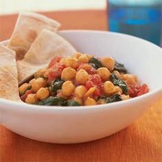 Chickpea and spinach curry.  One of our favorite, super easy recipes.