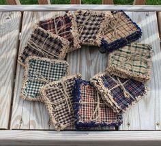 Primitive Rag Coasters set of 4 choose fabric Primitive Pillows, Primitive Crafts, Primitive Kitchen, Country Primitive, Quilted Coasters, Fabric Coasters, Farmhouse Placemats, Farmhouse Decor, History Of Quilting