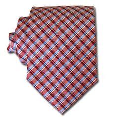 Red & Sky Blue Tartan Tie
