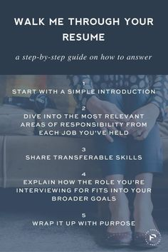 """Career infographic : Save for your next interview: A step by step guide on how to answer """"walk m"""