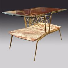 Guglielmo Ulrich, Brass, marble and glass magazine side table, 1940s.