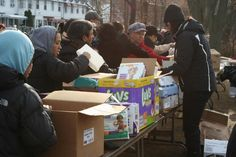 Distributing food, clothing, cleaning supplies and baby items to some precious folks hardest hit by Hurricane Sandy.