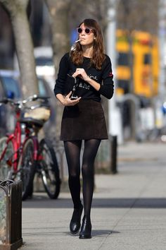 Alexa Chung seen out and about carrying a cigarette at Soho in New York City.