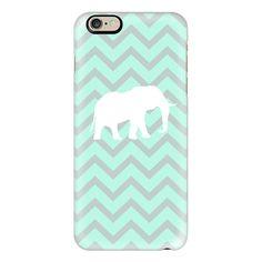 iPhone 6 Plus/6/5/5s/5c Case - Elephant Chevron Pale Pastel Mint Grey... ($40) ❤ liked on Polyvore