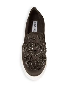 """Steve Madden Ellice Embellished Sneakers   Chunky soled sneakers balanced with detailed embellishment  Flatform, 1""""  Textile upper  Slip-on style  Rubber sole  Imported    Brand:  Steve Madden"""