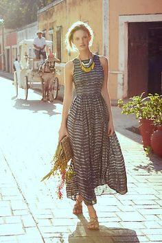Shibori Maxi Dress (Been searching for more Angelic rady-to-wear. It's tough for you Angelic types. This has your gentle fabric and draping and the necklace also reads Angelic (plus a little Natural.)