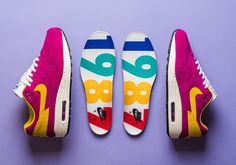 Nike Air Max 1 Premium Dynamic Berry features a full premium suede upper with Vivid Sulfur accents, rainbow/multicolor branding and celebratory 1987 insoles Air Max 1s, Nike Air Max, Latest Sneakers, Sneakers Nike, Nike Kicks, Sports Footwear, Nike Shoes Outlet, Vintage Nike, Air Jordans