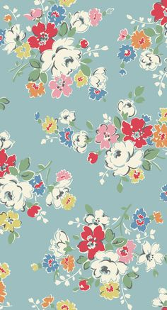 Clifton Rose | A modern vintage mid scale floral in cheerful contrasting colours | Cath Kidston AW14 |