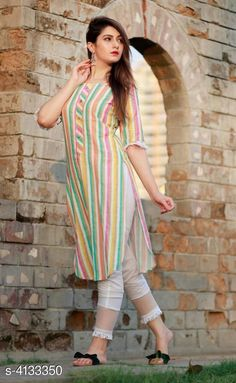 Checkout this latest Kurta Sets Product Name: *Women Rayon Striped Kurta Set with Pants* Kurta Fabric: Rayon Bottomwear Fabric: Rayon Sleeve Length: Three-Quarter Sleeves Set Type: Kurta With Bottomwear Bottom Type: Pants Pattern: Striped Multipack: Single Sizes: S, M (Bust Size: 38 in, Kurta Length Size: 42 in, Bottom Length Size: 39 in)  L (Bust Size: 40 in, Kurta Length Size: 42 in, Bottom Length Size: 39 in)  XL (Bust Size: 42 in, Kurta Length Size: 42 in, Bottom Length Size: 39 in)  XXL (Bust Size: 44 in, Kurta Length Size: 42 in, Bottom Length Size: 39 in)  Country of Origin: India Easy Returns Available In Case Of Any Issue   Catalog Rating: ★4 (9930)  Catalog Name: Women Rayon Crop Top Kurti Solid Short Kurti With Palazzos CatalogID_588629 C74-SC1853 Code: 034-4133350-3801