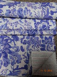 Kantha stitching is also used to make quilts. Women in india typically use old saris and cloth and layer them with kantha stitch to make a light blanket, throw or bedspread, especially for tradition.