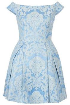 Blue and cream jacquard off the shoulder dress