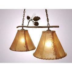 Steel Partners Ponderosa Pine Round Rawhide Double Anacosti Light Pendant Finish: Mountain Brown, Shade / Lens: Antique Rawhide