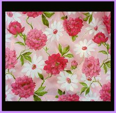 Vintage 1960s Pink Peony Flower Curtains Two Drapes Unused