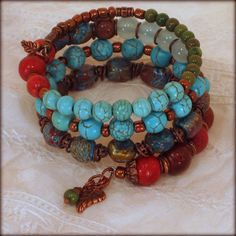 Shades of Blue, Red and Green Memory Wire Bracelet