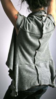 Inspire: Upcycled Recycled Grey Sweatshirt Layer Top by Earthia on Etsy