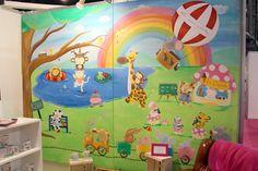 Cuadro infantil pintado a mano por La que pinta con ilustración de mundo animal animado