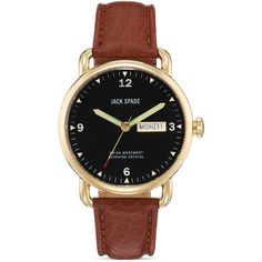 Jack Spade Buckner Brown Leather Watch, 42mm (525 CAD) ❤ liked on Polyvore featuring jewelry, watches, accessories, bracelets, fillers, whiskey, black faced watches, water resistant watches, leather watches and brown watches