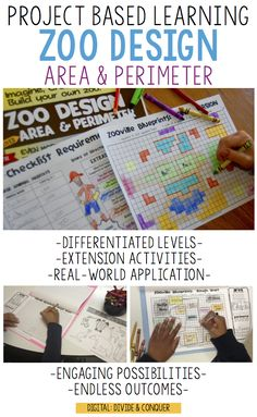 Engage and motivate students as they create and design a zoo using their area and perimeter skills.  This project based learning activity (PBL) includes two levels for immediate differentiation, along with extension for early finishers or independent work.  This pairs well with a variety of math skills, ELA subjects, and social studies. Zoo design works best for grades 2-6. $