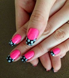 Nails This Week: Polka Dot French Tips http://nailsfornickels.com/nails-this-week-polka-dot-french-tip/