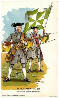 Portuguese infantry soldiers - Portugal 1721 History Of Portugal, 18th Century Clothing, Military Uniforms, Armies, Military History, Armed Forces, Warfare, Portuguese, Troops