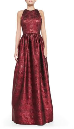 Alice + Olivia Emilia Snake-Embossed Metallic Gown | This would be a cool holiday dress