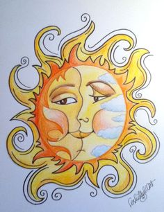 Sun Moon Faces Art Print 85 x 11 by rockandrollhart on Etsy