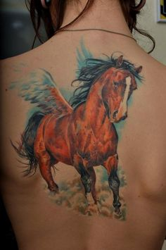 A beautiful tattoo by Dmitriy Samohin of a mythical flying horse called Pegasus
