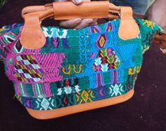 Handmade bag, guatemalan purse,  handmade fabrics and leather, original huipils, big bag from guatemala