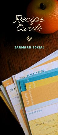Recipe Cards by Earmark Social | Many fun designs, double-sided and eco-friendly!