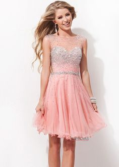 Tony Bowls TS11477 - Salmon Beaded Illusion Prom Dresses Online