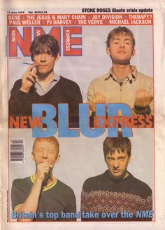 New Musical Express Blur Cover Issue June 1995 Room Posters, Band Posters, Poster Wall, Poster Prints, Photo Wall Collage, Picture Wall, Graphic Design Posters, Graphic Design Inspiration, Blur Band
