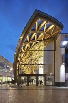 Moor Market, Sheffield Leslie Jones Architecture Shortlist, Commercial and Public Access Main wood species: Western red cedar, Sandy maple panel system, European white wood spruce glulam Timber Architecture, Public Architecture, Commercial Architecture, Concept Architecture, Amazing Architecture, Architecture Design, Entrance Design, Facade Design, Exterior Design