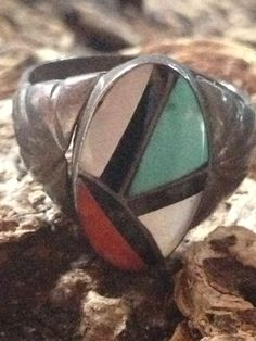 Signed Handmade Vintage Zuni Inlay Native American Ring by Tessey2, $110.00