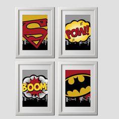 superheld muur wordt afgedrukt wand decor door AmysSimpleDesigns