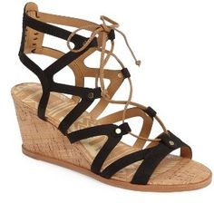 DV Lynnie Wedge Sandals - Chic ghillie tie lace up sandal with laser cut out detailing and a cork-wrapped wedge heel. Lace Up Sandals, Gladiator Sandals, Leather Sandals, Long Tall Sally, Crazy Shoes, Womens High Heels, Shoe Collection, Shoe Sale, Your Shoes