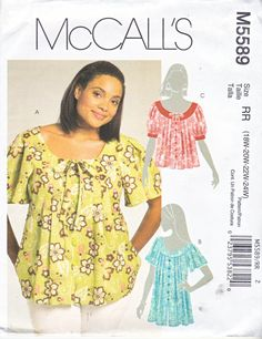 Misses' Pleated Top w/Raglan Sleeves McCall's Women's Sewing Pattern SALE Scoop Neck Pullover Top, Bow Detail Fashion Top Size 8 - 16 Plus Size Sewing Patterns, Mccalls Sewing Patterns, Clothing Patterns, Dress Patterns, Shirt Patterns, Pattern Sewing, Coat Patterns, Pattern Drafting, Pants Pattern