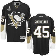 Men's Pittsburgh Penguins #45 Josh Archibald Black Team Color Jersey w 2016 Stanley Cup Champions Patch