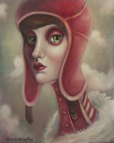 Oil on canvas, Lowbrow, pop surrealism art. original painting  by Elizabeth Caffey. Aviator Cap.